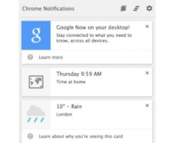 Google Now Cards будет доступен для браузера Chrome