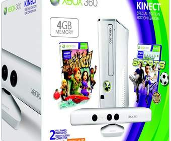 Белый комплект Xbox 360 4GB Kinekt Family Bundle